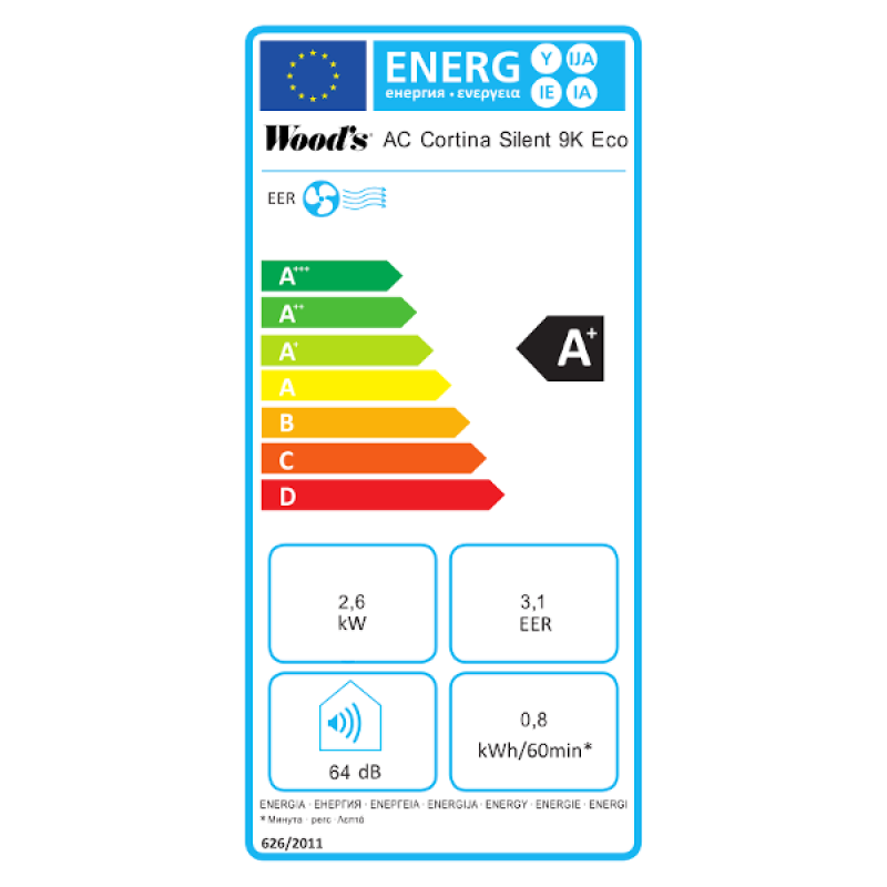 Mobilní klimatizace Woods CORTINA 9K Eco