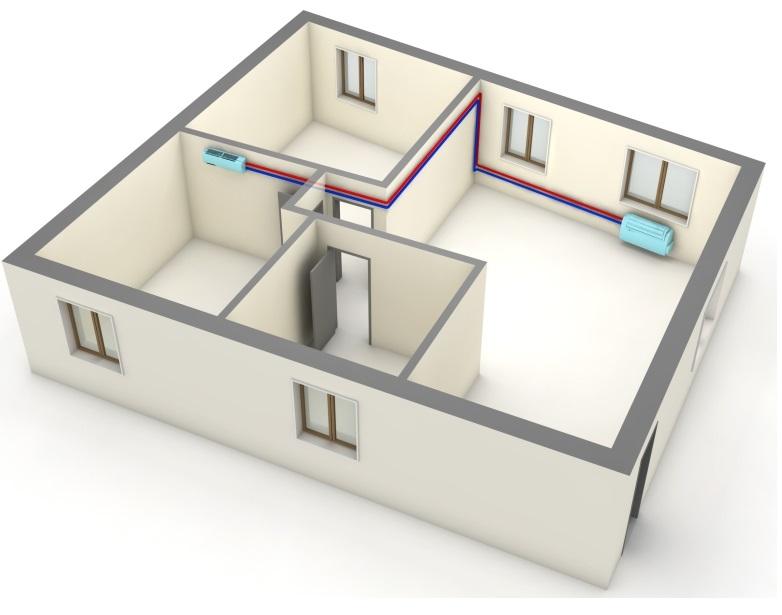 umístění hlavní a vedlejší jednotky klimatizace